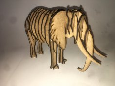 Laser Cut Wooden Elephant 3D Puzzle 3mm Free Vector