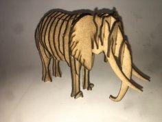 Laser Cut Wooden Elephant 3D Puzzle 3mm Free Vector