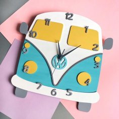 Laser Cut VW Camper Van Wall Clock Free Vector