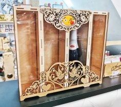 Laser Cut Two Bottle And Two Glass Wood Wine Box Free Vector