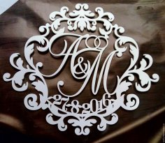 Laser Cut Personalised Monogram Free Vector
