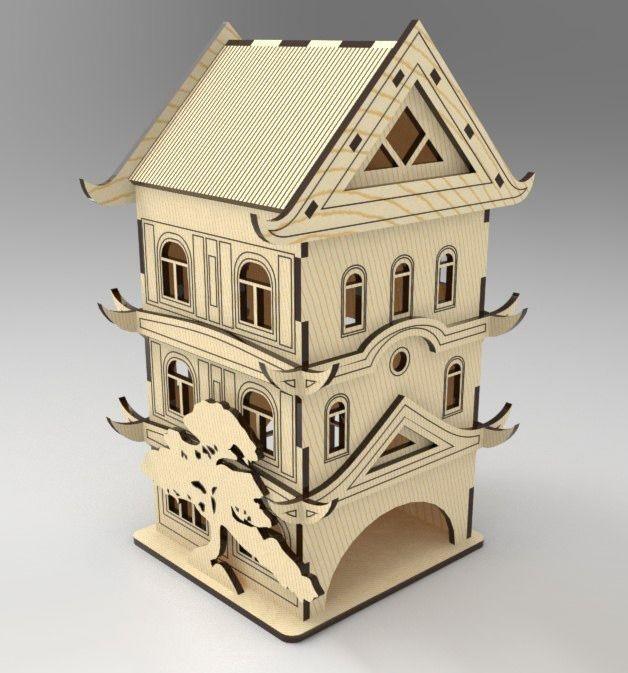 Laser Cut Pagoda Tea House Tea Bag Dispenser Free Vector