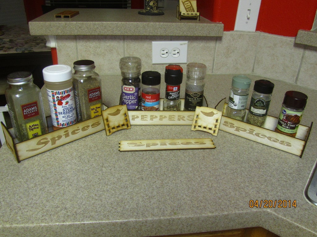Laser Cut Spice Rack Tray With Engraving 1/8 Birch Plywood Free Vector