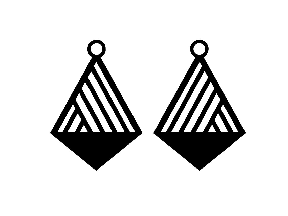 Laser Cut Geometric Cross Shaped Earring Design Free Vector