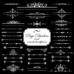 Page Dividers And Ornate Headpieces Isolated On Black Background Free Vector