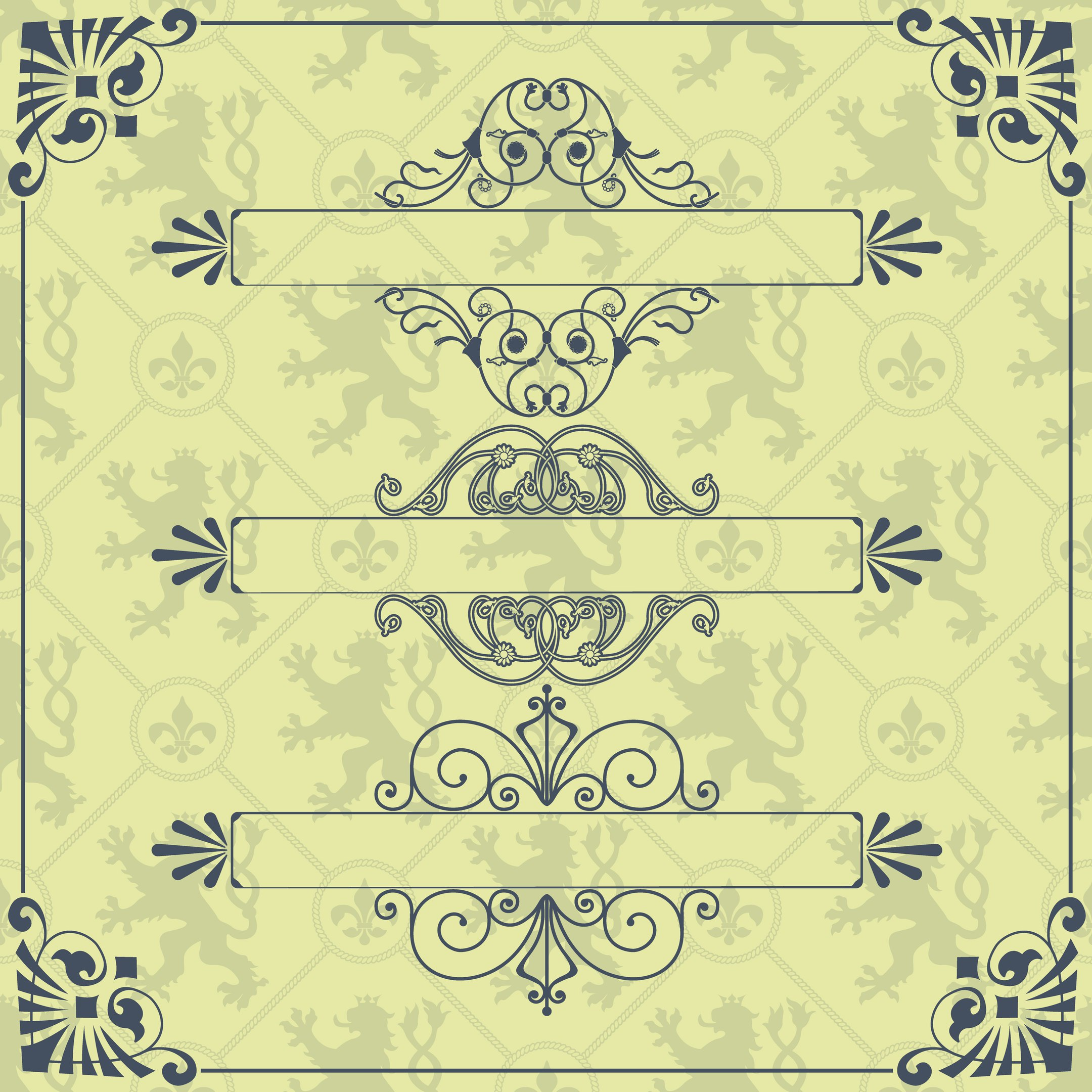 Decorative Calligraphic Frame Set Free Vector