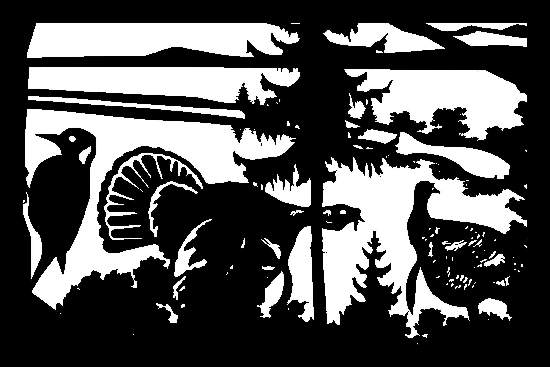 24 X 36 Woodpecker Two Turkeys Mountains Plasma Art DXF File
