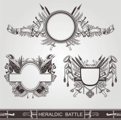Heraldic Old Banners Of Battle Or Vintage Coasts Of Arms Free Vector