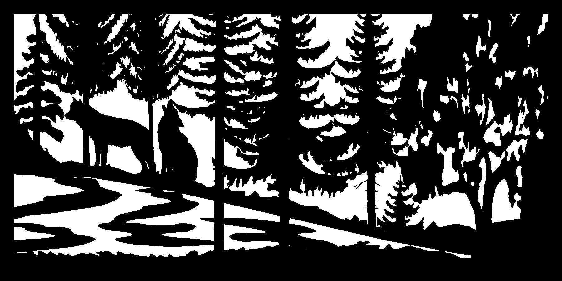 30 X 60 Two Wolves River B Plasma Metal Art DXF File
