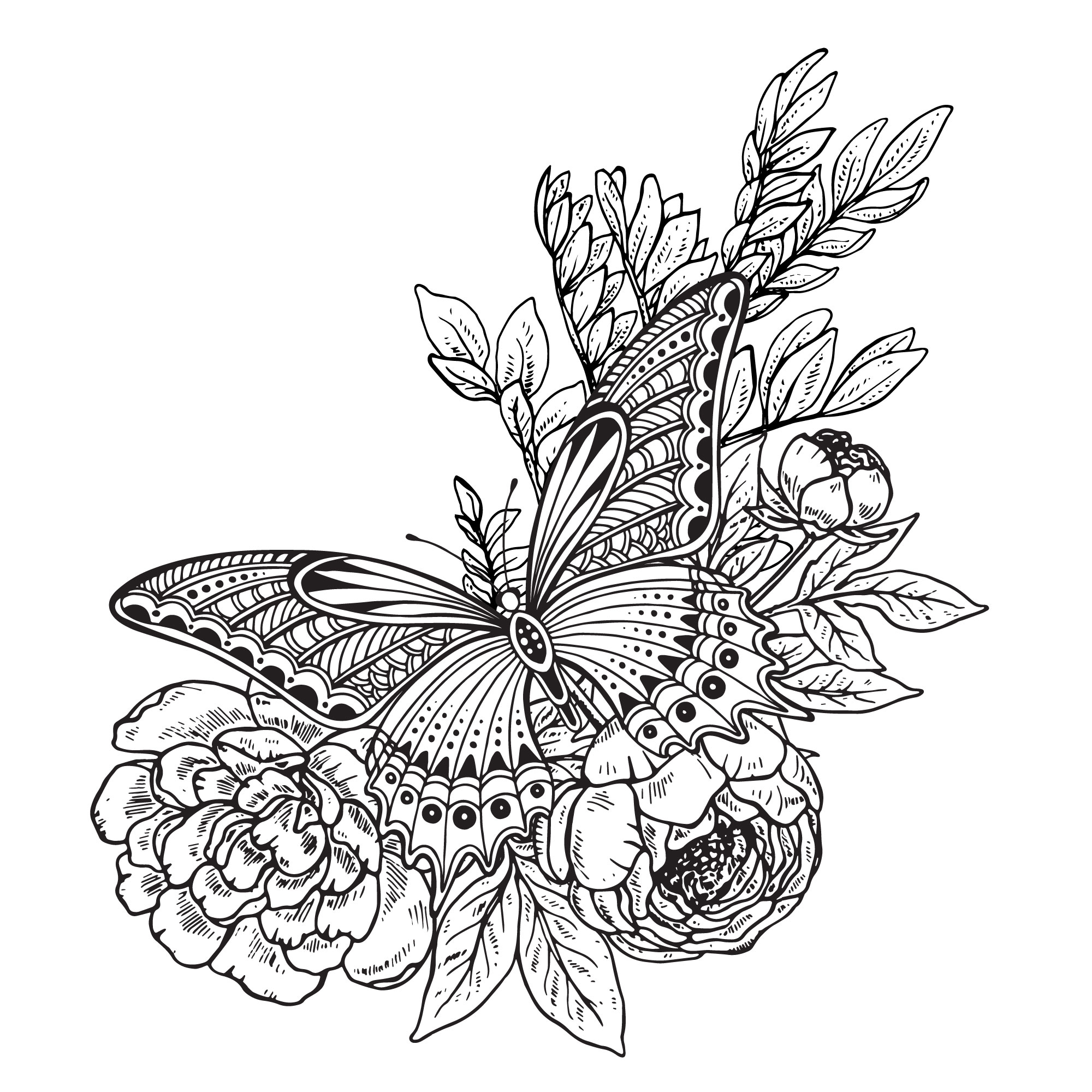 Butterfly Flowers Decor Drawing Vector Free Vector