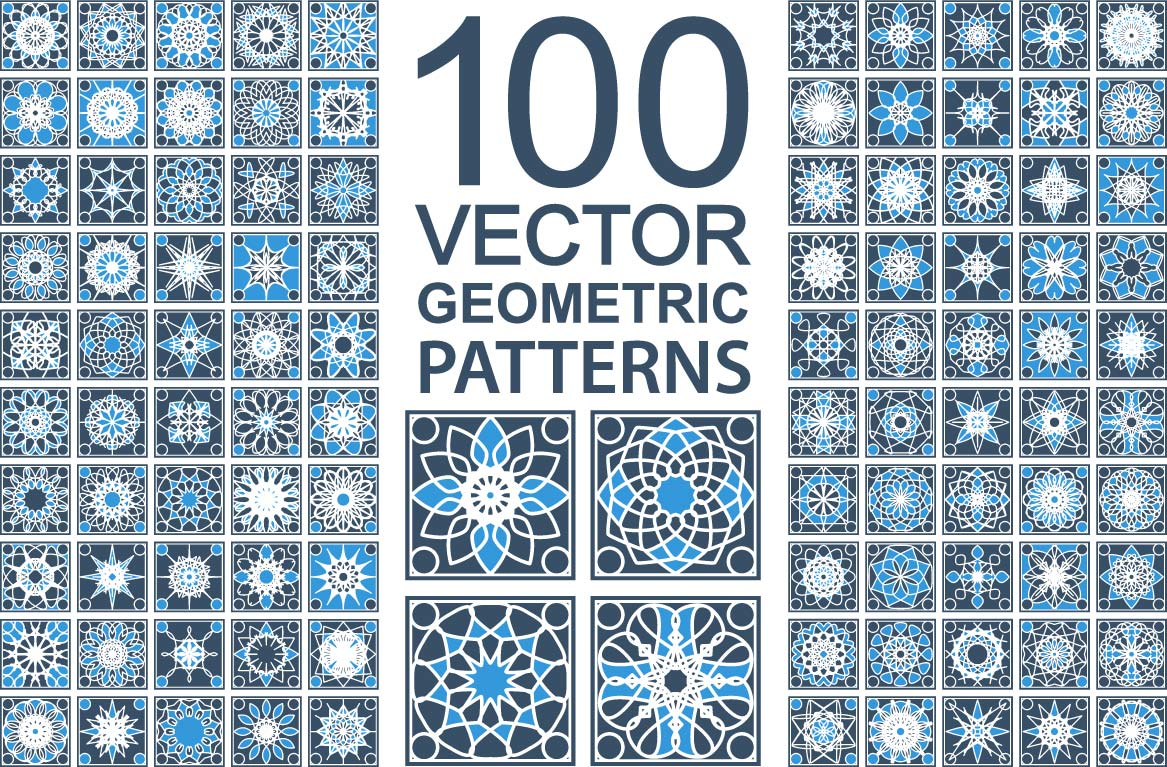 100 Geometric Patterns Vector Set Free Vector