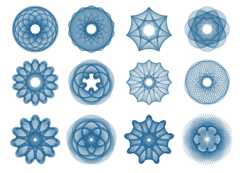 Guilloche Patterns Variations Free Vector