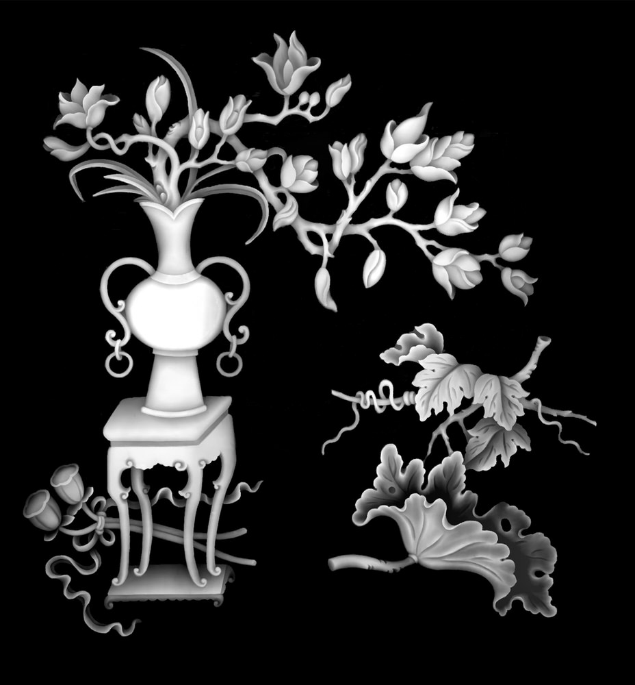 Vase Flowers Grayscale Image BMP File