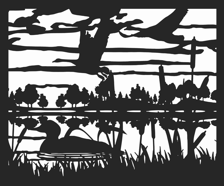 30 X 36 Ducks Geese Lake Smoothed Plasma Art DXF File