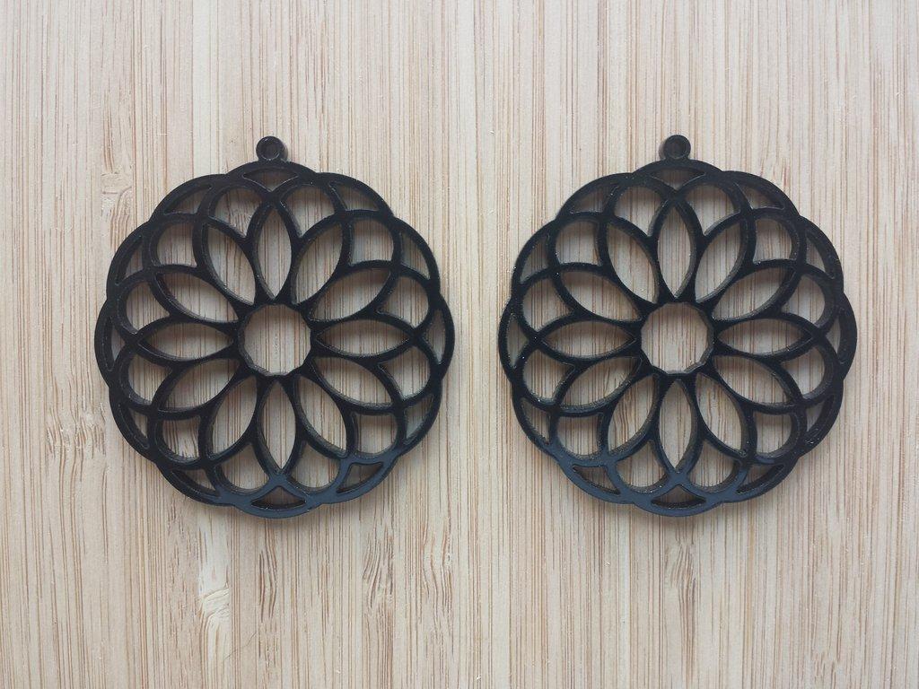 Laser Cut Earrings Acrylic Flower Design DXF File