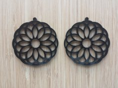 Laser Cut Earrings Acrylic Flower Design DXF File