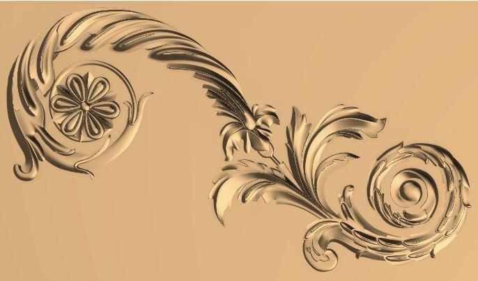 CNC Carved Floral Ornamental Design For CNC Router Stl File