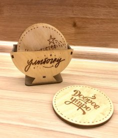 Laser Cut Coaster Set with Holder Free Vector