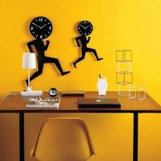 Laser Cut Cool Wall Clock Template Free Vector