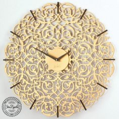 Laser Cut Decorative Wall Clock Template Free Vector