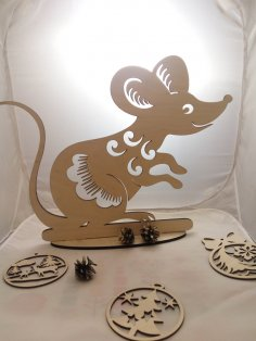 Laser Cut Rat Mouse on Stand Free Vector