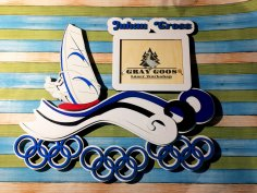 Laser Cut Surfing Medal Hanger Display Rack Free Vector