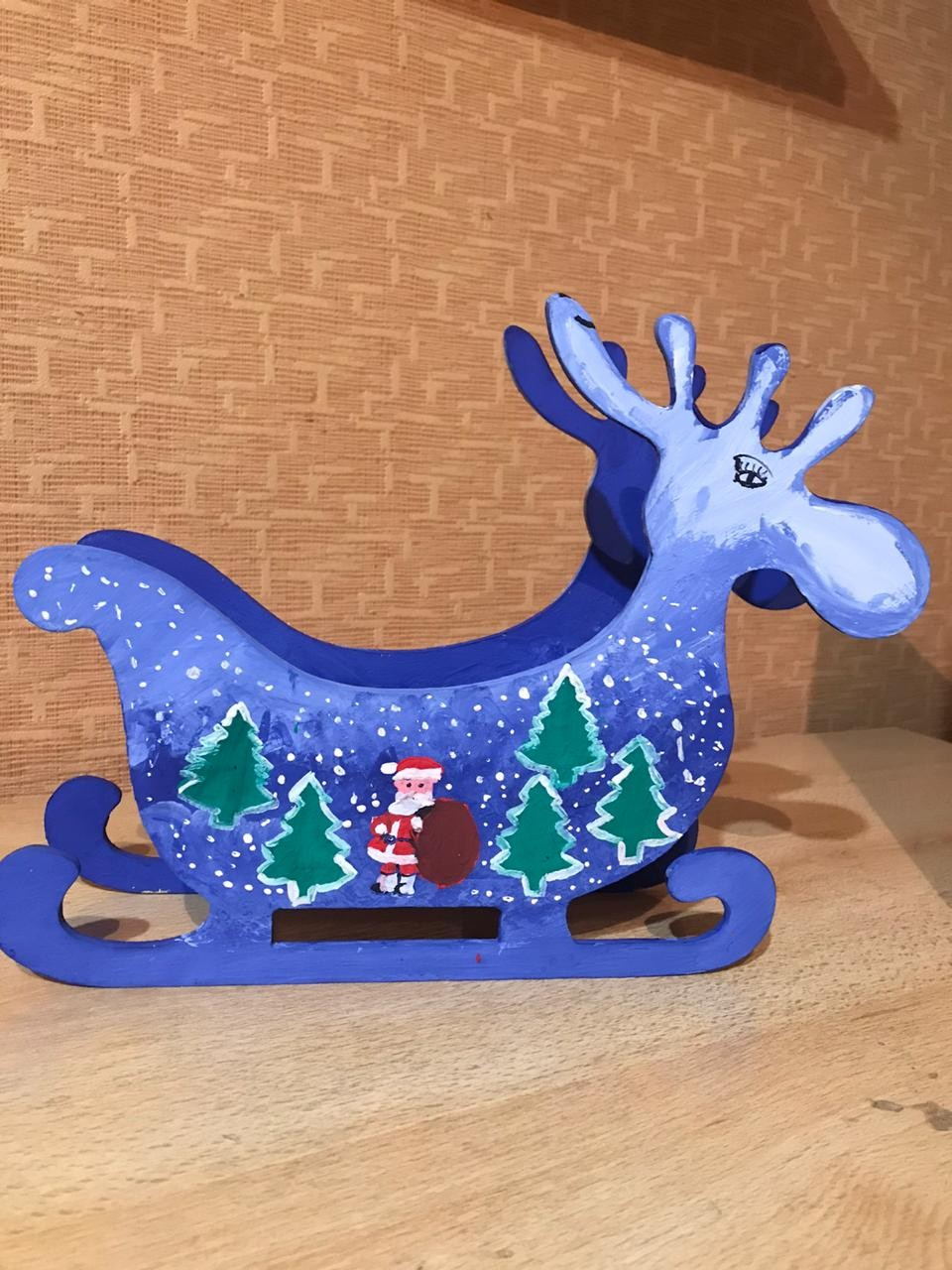 Laser Cut Deer Candy Dish Sleigh Candy Bowl Christmas Table Decoration Free Vector