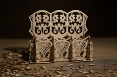 Laser Cut Carved Wood Desk Organizer Free Vector
