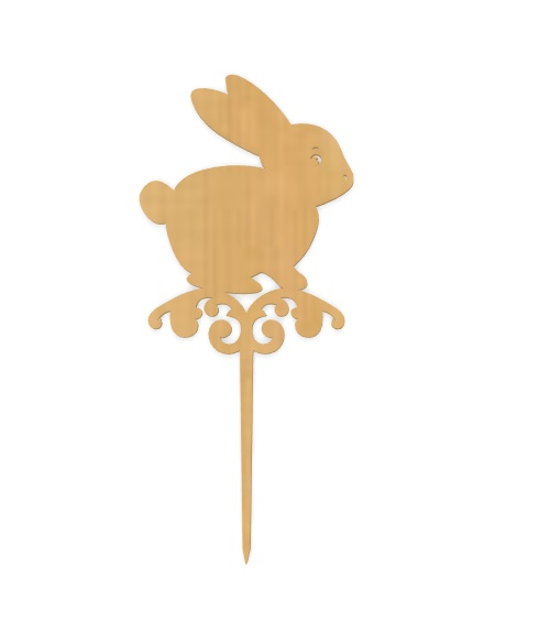 Laser Cut Easter Bunny Topper Plywood Free Vector
