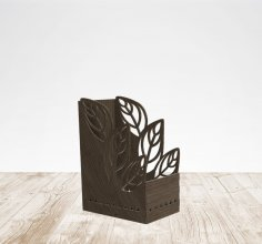 Laser Cut Leaf Pen Holder Cute Office Organizer Free Vector