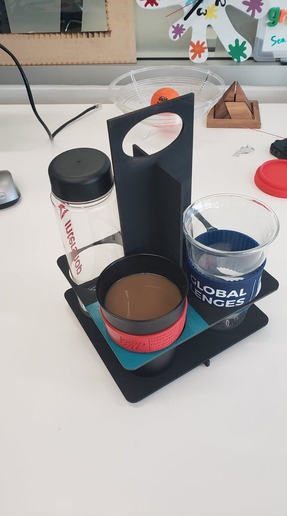 Laser Cut 4 Cup Coffee Caddy 3mm SVG File