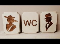 Laser Cut Engrave Lady And Gentlemen Restroom Signs Free Vector