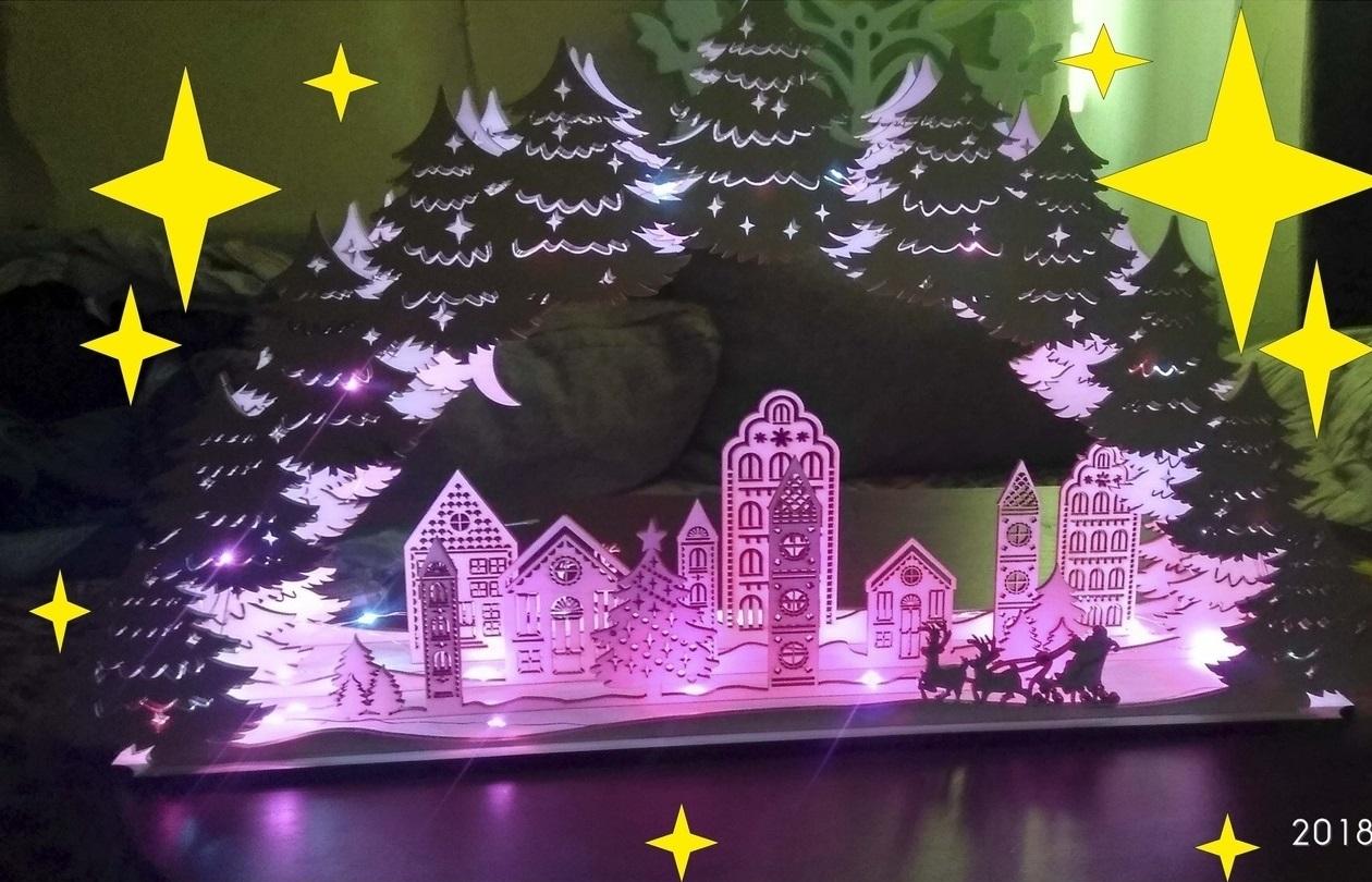 Laser Cut Christmas Night Light Decor Christmas Village Lamp Free Vector