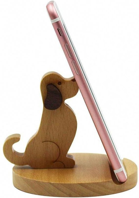 Laser Cut Puppy Phone Stand Cell Phone Holder Free Vector