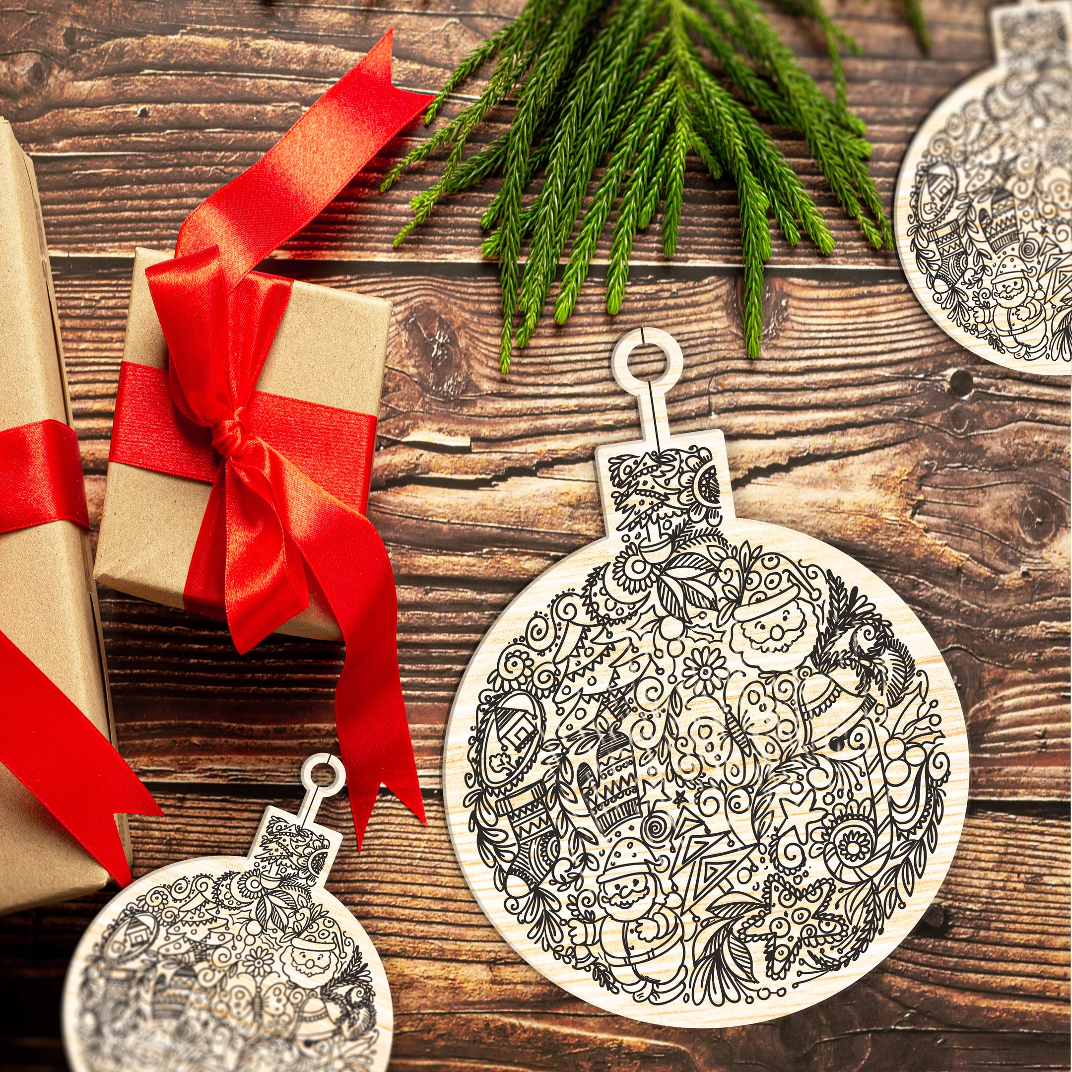 Laser Cut Christmas Decorations Christmas Tree New Years Toys Free Vector
