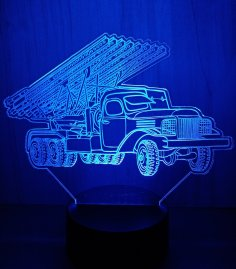 Laser Cut Acrylic LED Lamp Multi Barrel Rocket Launcher Free Vector