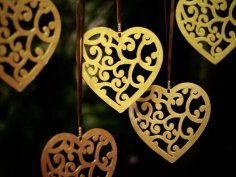 Laser Cut Heart Pendant Valentines Day Decor Free Vector
