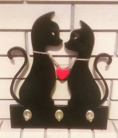 Laser Cut Cat Couple Keys Hanger Wall Mounted Hanger Free Vector