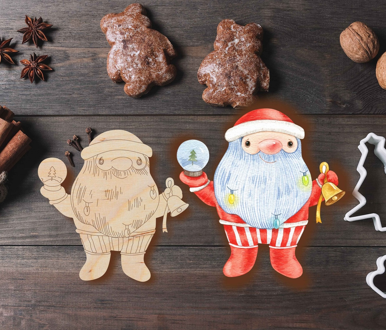 Laser Cut Grandpa Christmas Ornament Santa Claus Christmas Tree Decoration DXF File