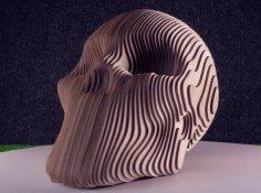 Laser Cut Wooden Decor Skull Layered Art 3mm Free Vector
