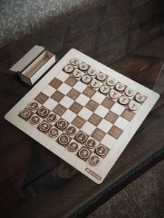 Laser Cut Wooden Chess Set And Box Free Vector