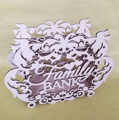Laser Cut Decor Family Bank Money Box Piggy Bank Free Vector
