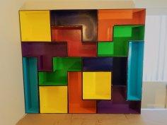 Laser Cut Modular Tetris Shelves SVG File