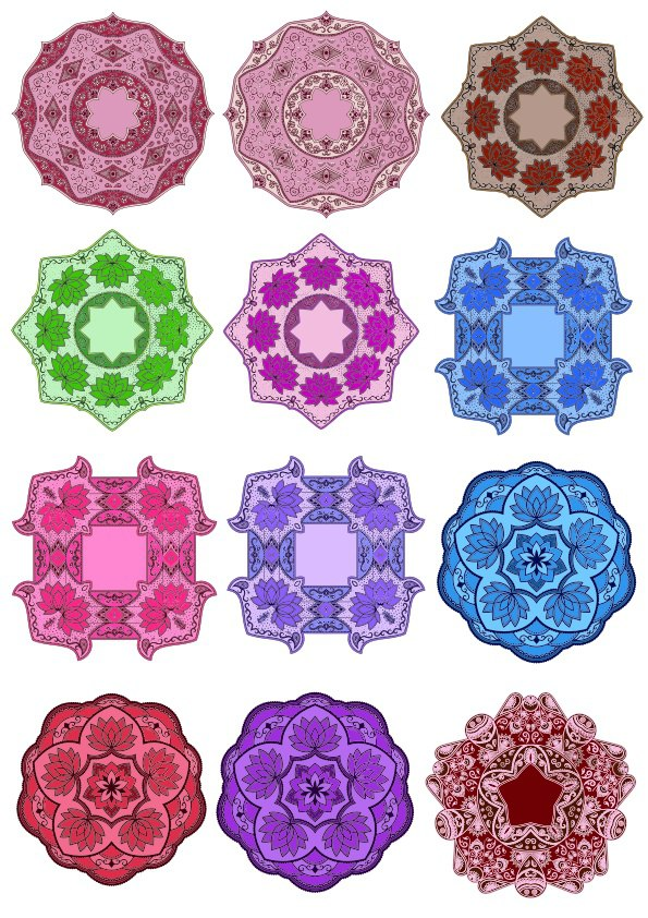 Color Floral Mandala Set Free Vector