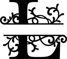 Split Monogram Letter L DXF File