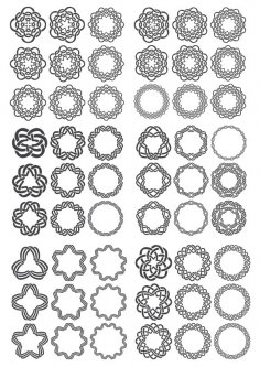 Set of Round Ornaments Free Vector