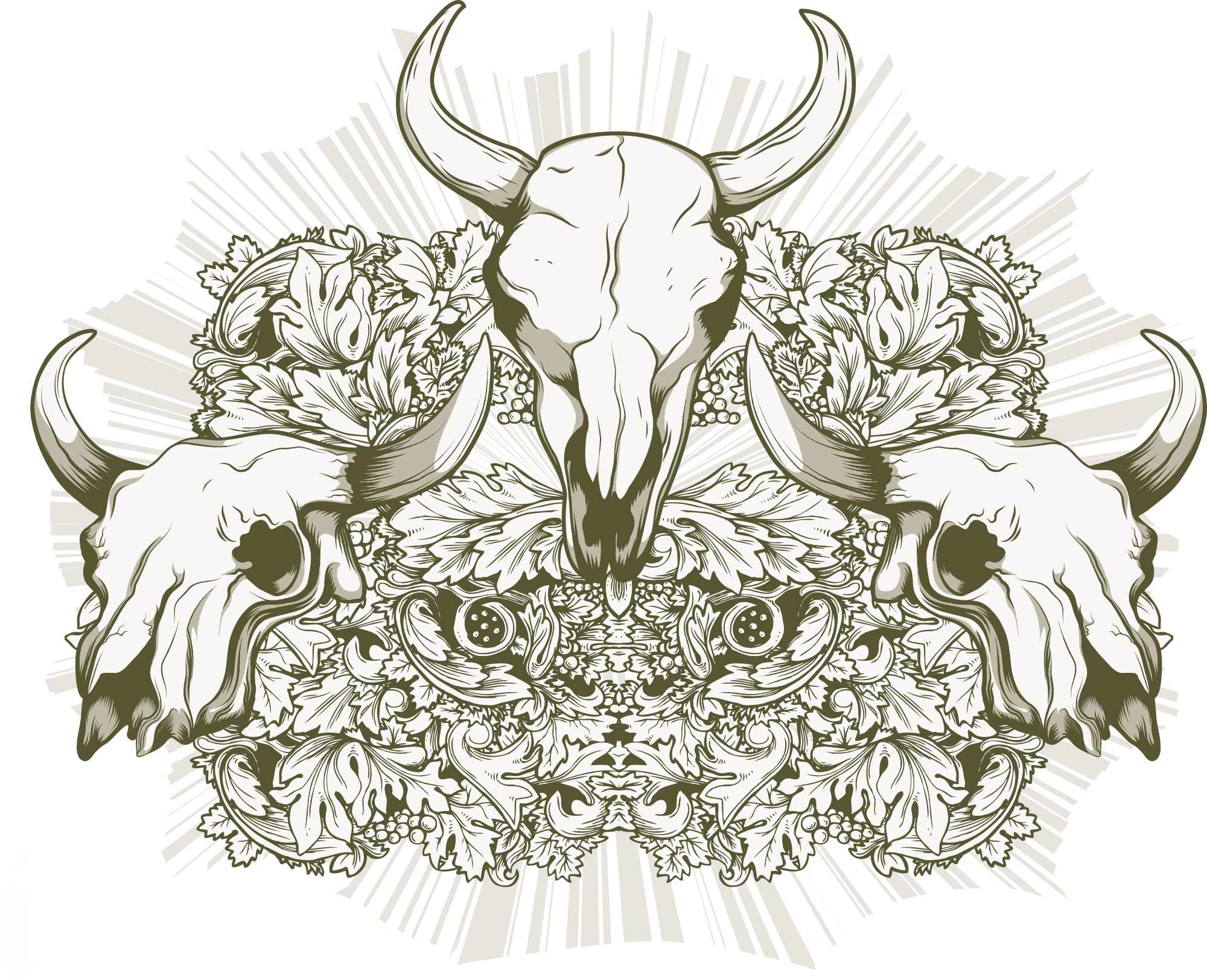 Animal Skull Print Free Vector