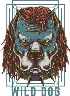 Wild Dog Print Free Vector