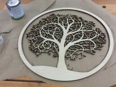 Laser Cut Tree in Circle Free Vector
