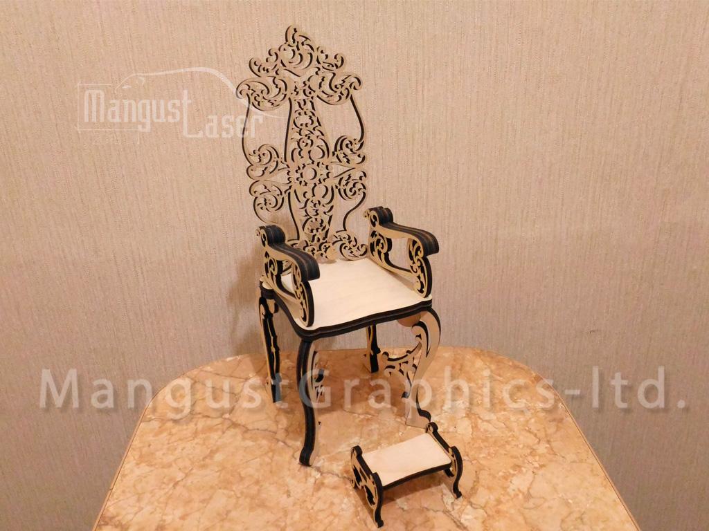 Laser Cut Throne Chair CNC Template Free Vector